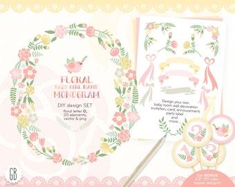 Floral monogram, flower type, baby girl initial O, birthday, clip art, pastel alphabet, vector, flowers, invitation, nursery decor, diy card