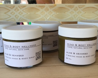 Aloe & Seaweed Firming Mask and Body Wrap Treatment - For Face and Body - 100% Natural, made with Aloe and Seaweed Powder