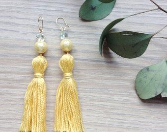 Yellow tassel earrings, shell pearl dangly earrings, beaded gold earrings, pastel tassels, vintage style, long statement earrings,