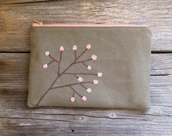 Zipper Pouch with Blossom Tree in Khaki and Peach Pink, Pure Cotton Cosmetic Bag, Bohemian Accessories
