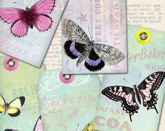 Shabby Butterfly Tags scrapbooking gift tags printable hobby crafting digital graphics instant download digital collage sheet - VDTASC1104