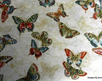 """One Fat Quarter Cut Quilt Fabric, """"Tea House"""" Butterflies, Rust, Teal on Cream, Shadow Butterflies, Benartex, Quilting-Sewing-Craft Supplies"""