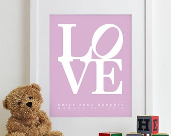 Baby Nursery Art Print LOVE - typography poster nursery prints kids room decor nursery wall art boy name girl baby gift