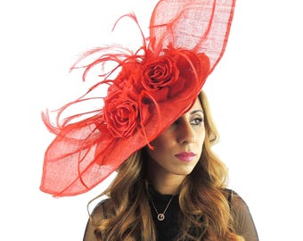 Medium Elisaveta Red Fascinator Hat for Weddings, Races, and Special Events With Headband
