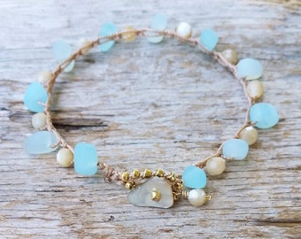 Aqua Cultured Sea Glass Bracelet, Crochet Stacking Beach Bracelet, Beach Bride Jewelry, Summer Jewelry, Mermaid Lovers Gift, Resort Wear