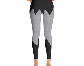 Striped Pattern Black Leggings