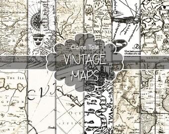 """Vintage maps digital paper: """"VINTAGE MAPS"""" backgrounds, antique maps, old world, globe, America, Europe, vintage antique map sheets"""