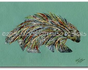 "Porcupine art print, 5 x 7"" giclee print, Woodland nursery collage art, Porcupine painting print, Forest animal nursery, Porcupine decor"