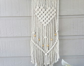 Heart Macrame Wall Hanging with beads.