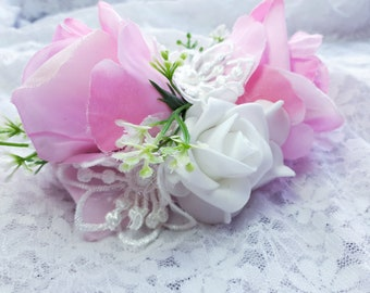 Hair clip barrette for flower girl bridesmaid hair accessory pink and white. Small mini fascinator.