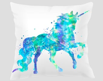 Unicorn #1 Throw Pillow, Watercolor Unicorn Pillow, Pillow Cover, Accent Pillow, Nursery Decor, Kids Room Decor