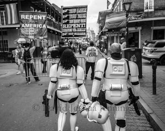 Storm Troopers and Evangelists - New Orleans 2016 - French Quarter - Street Photography - Black and White - Star Wars - Bourbon Street