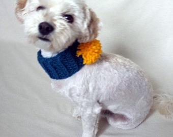 crochet dog collar, pom pom dog collar, puppy scarf, blue dog collar, custom dog collar, custom dog neck warmer, custom dog scarf