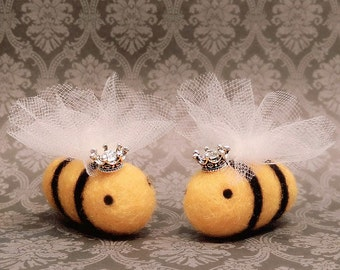 Needle Felted Bees , Felted Queen Bee, Felted Bumble Bee