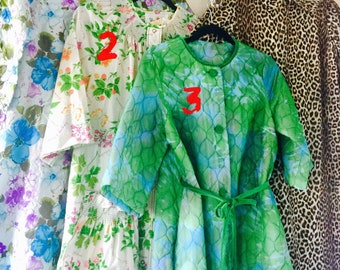 1950's to 1970's Lot of House Long Coats by Buzz About & Barbara Lee Leopard/Floral Sz S to XL