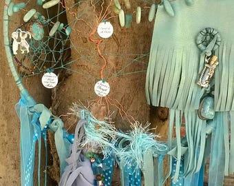 Dreamcatcher of Amazonite Large Tree of Life Mermaid Fringed Leather Boho Dream Catcher Large Dreamcatcher Nursery Dream Catcher