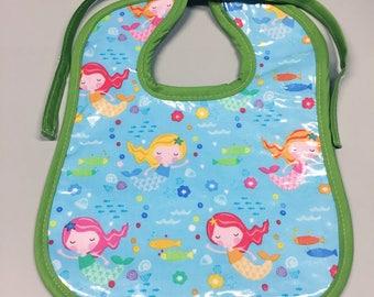 Wipeable Baby Bibs - Mermaids