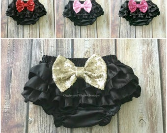 Black bloomers, ruffle baby diaper cover, baby bloomer, diaper cover, newborn girl bloomer, infant girl outfit, baby bows, baby girl clothes