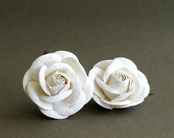 50mm Large White Roses (2pcs) - mulberry paper flowers with wire stems - Great for wedding decoration and bouquet [152]