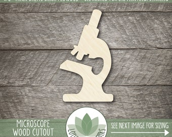 Wood Microscope Shape, Wooden Microscope Cutout, Blank Wood Shape, Unfinished Wood For DIY Projects, Many Sizes, Scientist Shapes