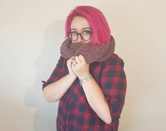 Hand knitted Cozy cowl scarf