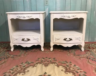 Vintage nightstand pair white shabby chic distressed roses cottage beach