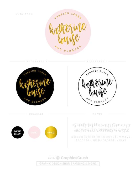 Lovely Blog Branding Logo Design Logo Set Pink Gold Logo Feminine HH08