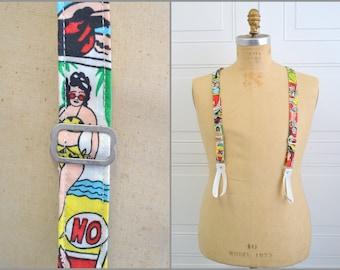 Vintage Comic Strip Button On Suspenders