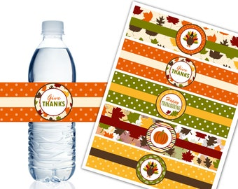 Thanksgiving Water Bottle Labels, Printable Water Bottle Labels, Thanksgiving Theme Party Decoration - Instant Download - DP455