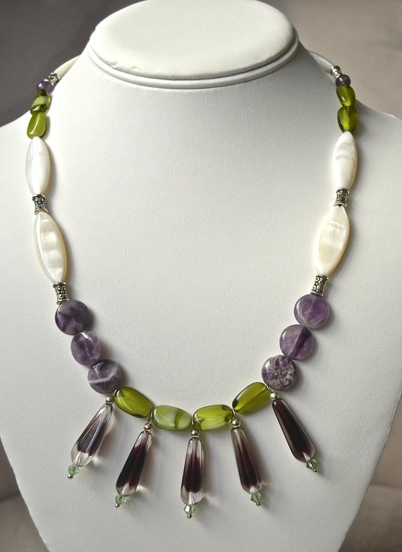 "19"" Drop Vintage Purple and Green Necklace"