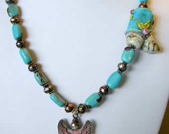 SALE Western Boot Artist  Lampwork Glass Bead w Sterling Silver Comstock Angel Faceted Grey Pearls & Turquoise Necklace Southwestern