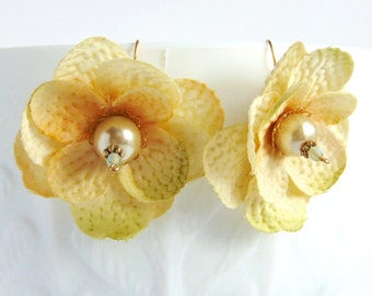 Spring Flower Earrings - Yellow Silk Flowers with Creamy Pearls on Gold Wire