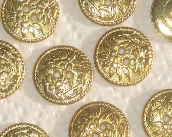 pretty Multi FLOWER Picture EDELWEISS Set 11 vtg new Gold tone METAL buttons 21mm 13/16""