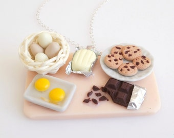 Food Jewelry Butter-Chocolate Cookies Preparation Board  Necklace, Miniature Food Jewelry, Handmade Necklace, Polymer Clay Sweets, Mini Food