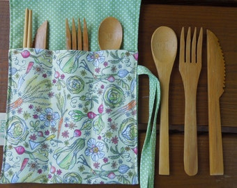 Reusable bamboo cutlery and roll up carrying pouch  - Picnic cutlery roll - Flatware pouch - Bamboo cutlery - Veggies