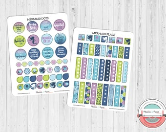 Mermaid Dots & Flags Planner Stickers