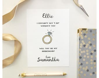 "BRIDESMAID CARD // will you be my bridesmaid, maid of honor card, custom wedding card, custom bridesmaid card, ""i do"" card, wedding card"