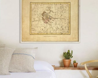 "Gemini sign print 1822 Vintage Gemini constellation zodiac star map, 4 sizes up to 36x30"" (90x75cm) Astrological - Limited Edition of 100"
