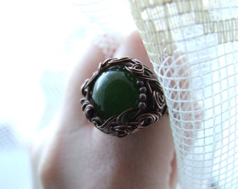 Green Jade Ring - big rustic wire wrapped copper bohemian ring