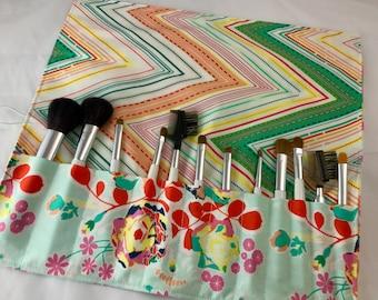 Makeup Brush Roll Holder - Makeup Brush Bag - Makeup Brush Organizer - Makeup Brush Case -  Art Gallery Orchard Blossom in  Joyful