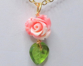 MOTHER'S DAY GIFT, Carved Conch Shell Rose, Eternally Blooming, Coral Pink Rose Necklace, 16K Gold Filled Chain, Supply Limited, Lady's Gift