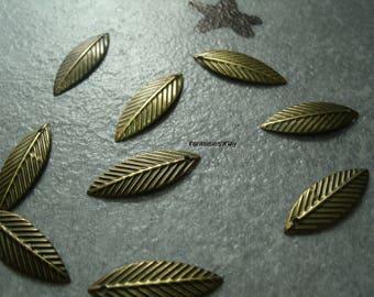 BB2) set of 25 charms bronze metal leaf filigree 20 mm