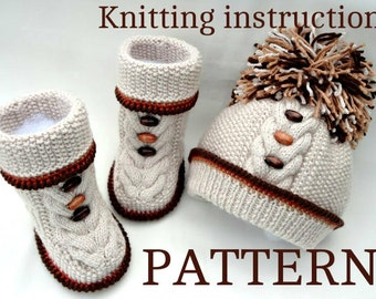 Knitting PATTERN for Babies Knitted Baby Set Baby Shoes Baby Beanie Baby Hat Pattern Baby Booties Baby Boy Baby Girl Pattern ( PDF file )
