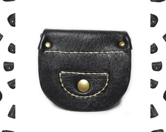 Woman black soft leather coin purse