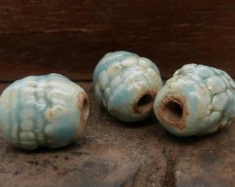 Stoneware Ceramic Tubular Beads Light Blue Brown Texture Handmade Pottery