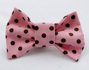 Pink and Brow Polka Dot- Dog Collar Bow Tie- Pet Accessory- Pet Supplies- Collar Attachment