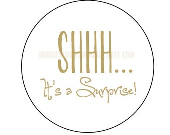 Shhh... It's a surprise! (16, 48 or 100) Tan/ gold look envelope seals / stickers 1.2""