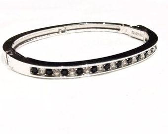 SWAROVSKI CRYSTALS black and white SILVER bangle bracelet