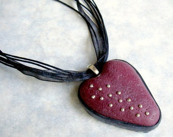 handmade OOAK Heart Bordeaux with silver Plated dots, Silver, Polymer Clay, Wine, Black, Handmade, Jewelry, Necklace, Gift for Her, Mom Gift