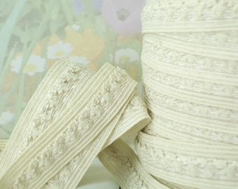5yds Elastic fold over Stretch ribbon Trim Beige ruffle middle 5/8 inch 15mm light brown hair HeadBands Ponytail FOE lingerie Picot elastic
